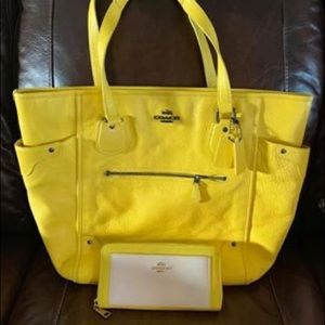 Coach large yellow bag & yellow and white wallet